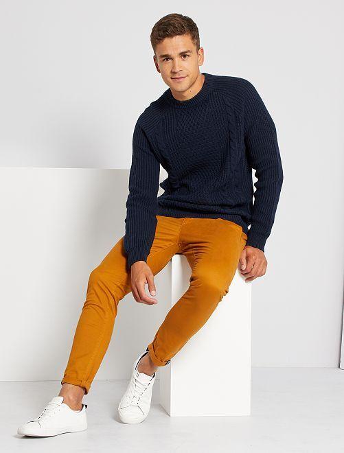 Pullover in maglia con trecce                             BLU