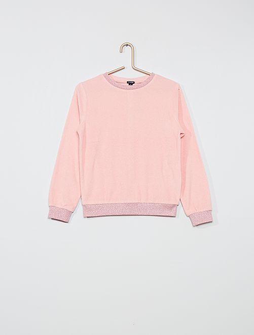 Pullover in maglia di spugna                             ROSA