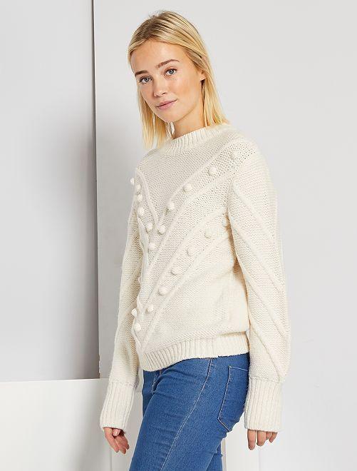 Pullover in maglia fantasia                             BIANCO