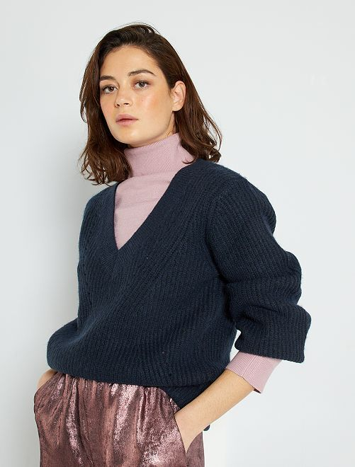 Pullover in maglia scollo a V                                                                             blu