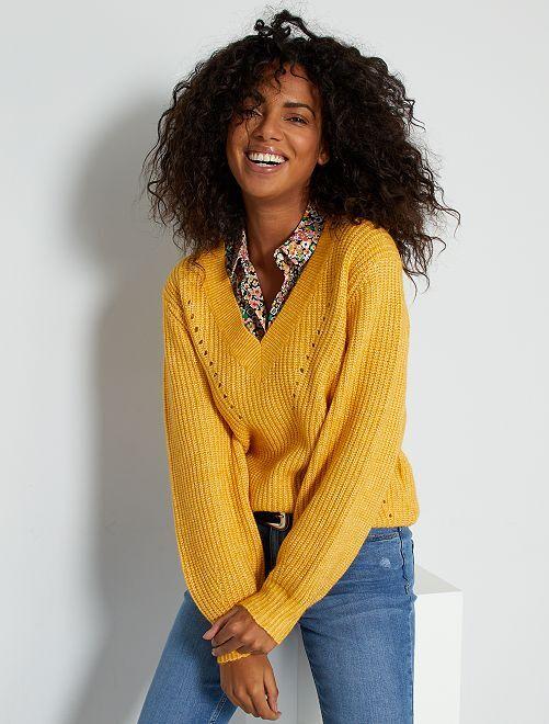 Pullover in maglia scollo a V                                                                             GIALLO