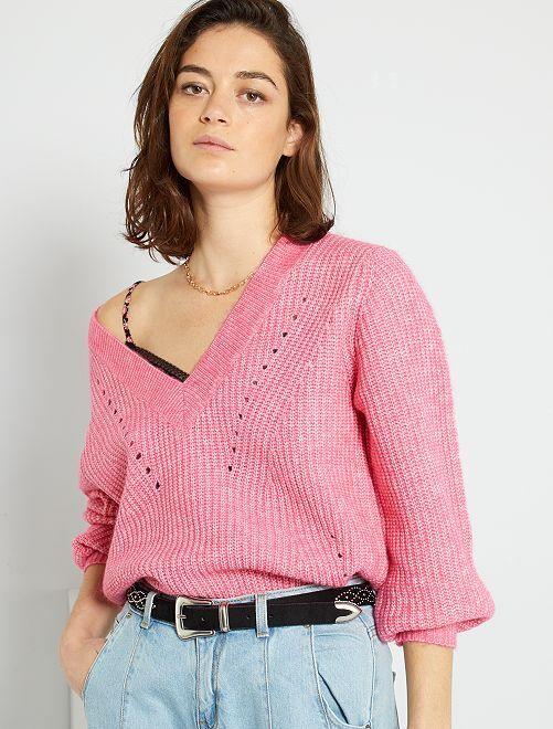 Pullover in maglia scollo a V                                                                 rosa acceso