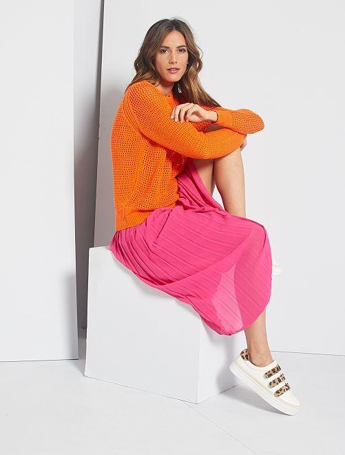 Pullover in maglia traforata                                 ARANCIONE