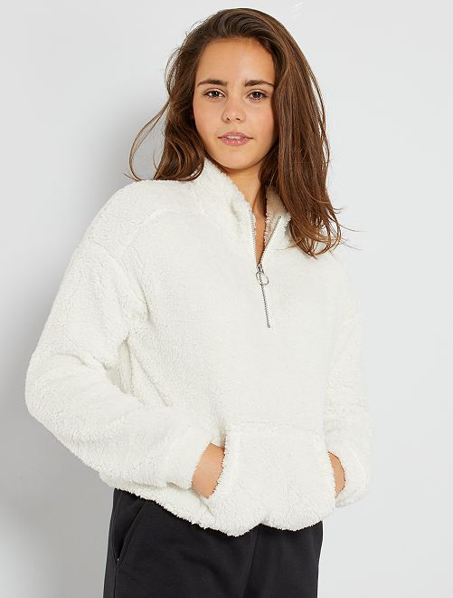 Pullover in sherpa                                         BIANCO
