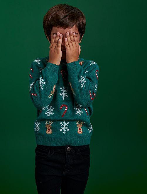 Pullover in stile natalizio                                         VERDE