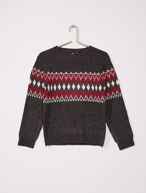 Pullover jacquard                                         GRIGIO