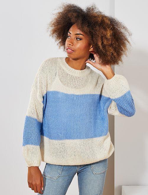 Pullover lavorato a maglia 'righe'                                         BEIGE