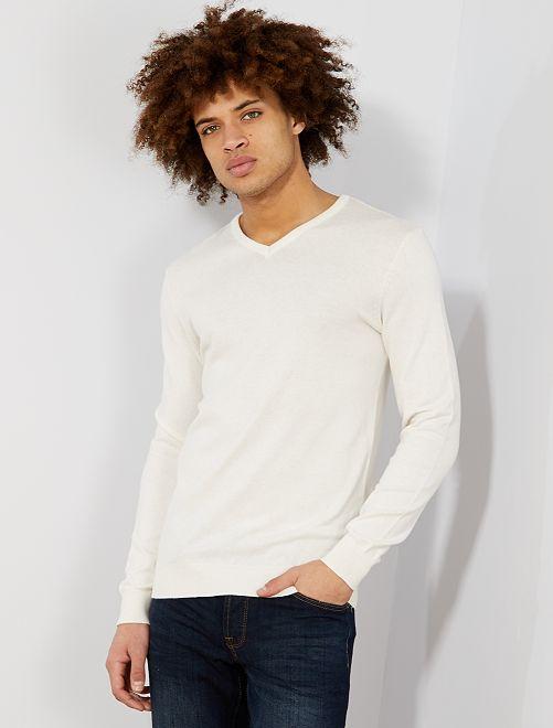 Pullover leggero collo a V                                                                                                                                                                 beige Uomo