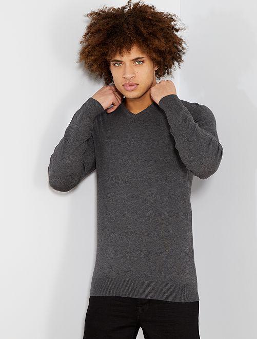 Pullover leggero collo a V                                                                                                                                                                                                                 grigio