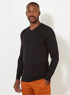 Taglie forti Uomo - Pullover leggero cotone collo a V + 1 m 90 - Kiabi