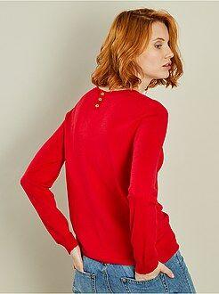 Maglioni collo arrotondato rosso - Pullover leggero finitura squame - Kiabi