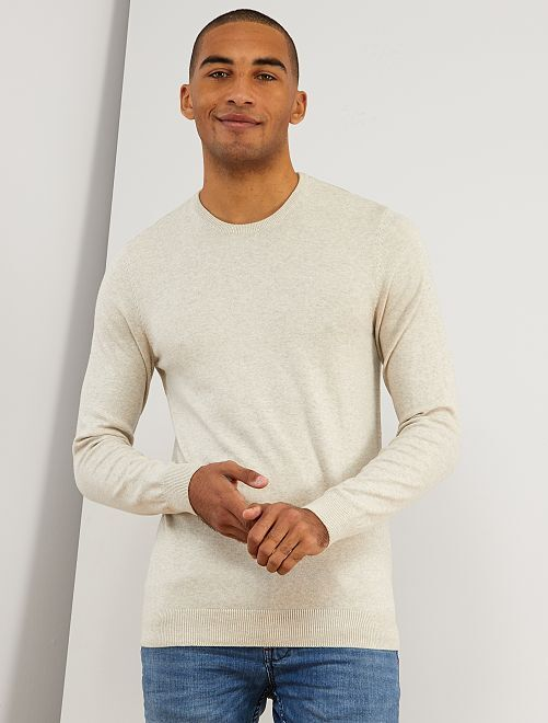 Pullover leggero girocollo                                                                                                                                                                     beige Uomo