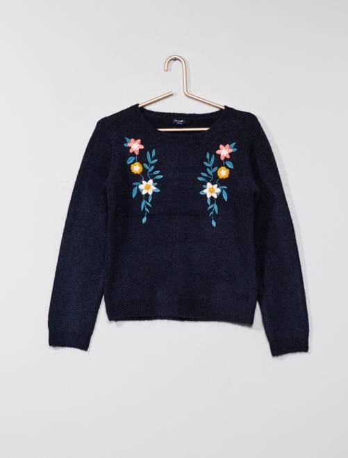Pullover leggero ricamato                                         BLU Infanzia bambina