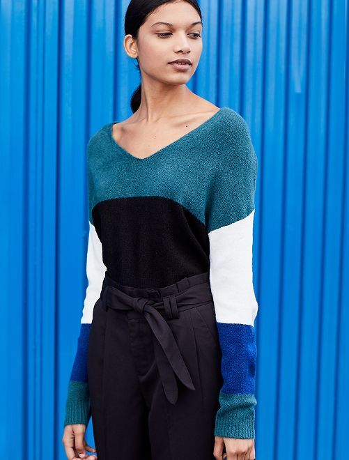 Pullover loose color block                             BIANCO Donna