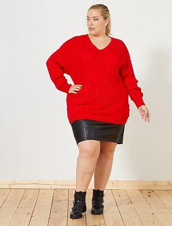 Taglie forti donna - Pullover loose gioco di maglia - Kiabi
