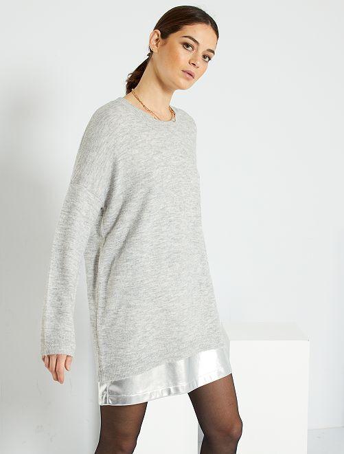 Pullover lungo in maglia leggera                                                                 GRIGIO