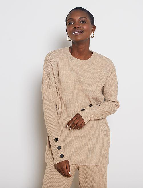 Pullover maglia a coste                                         BEIGE