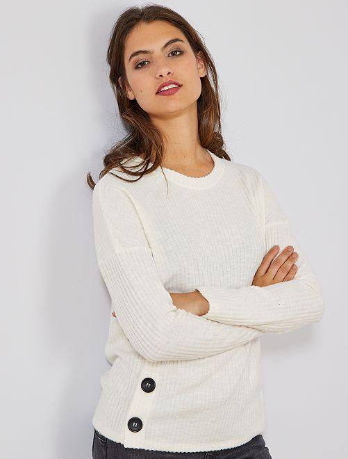 Pullover maglia a coste                                         bianco neve Donna
