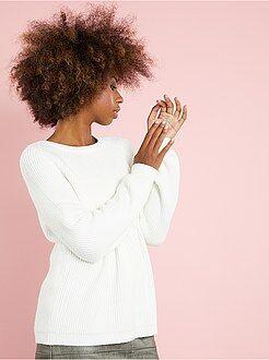 Maglioni collo arrotondato - Pullover maglia a coste con zip dietro