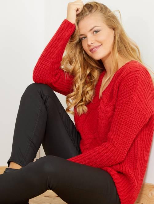 Pullover maglia a trecce                             ROSSO Donna