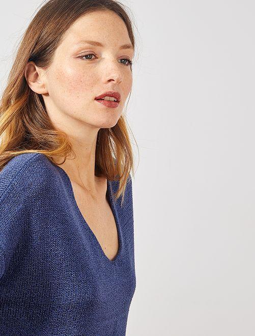 Pullover maglia bouclé                                                                             blu cobalto