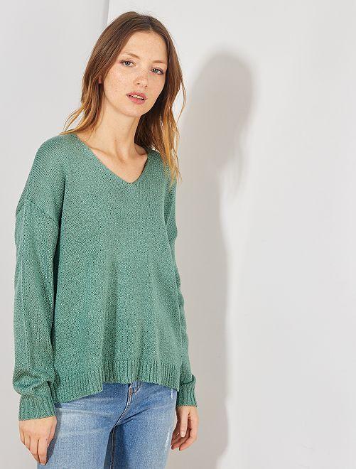 Pullover maglia bouclé                                                                             VERDE