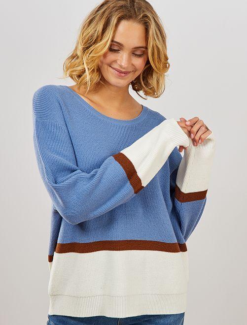 Pullover maglia color block                                                                 BEIGE