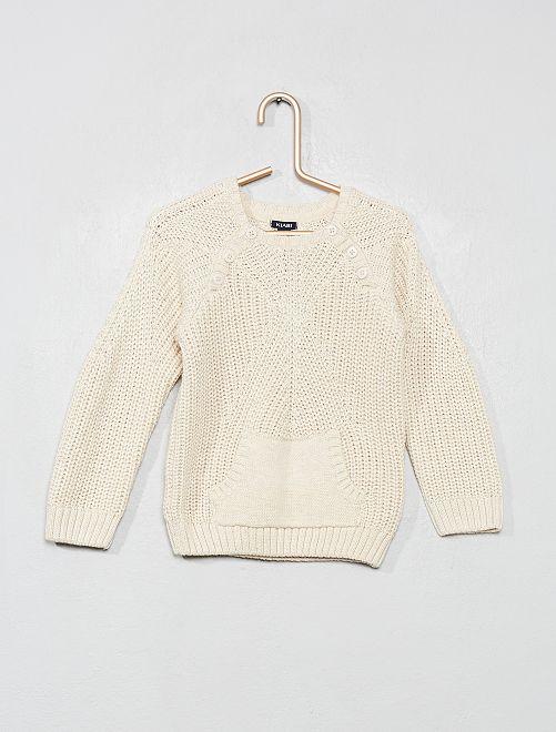 Pullover maglia fantasia                             BEIGE