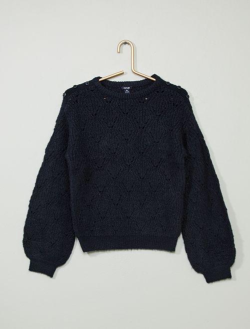 Pullover maglia fantasia                                                     blu Infanzia bambina