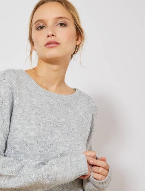 Pullover maglia filo brillante                             GRIGIO Donna