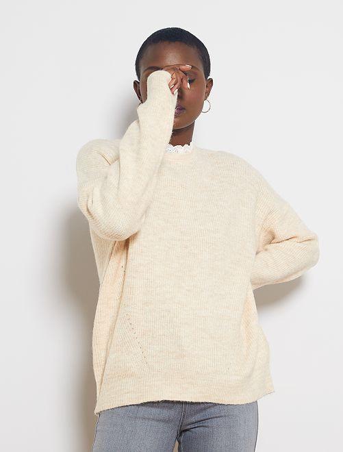Pullover maglia morbida collo vittoriano                                                                 BEIGE