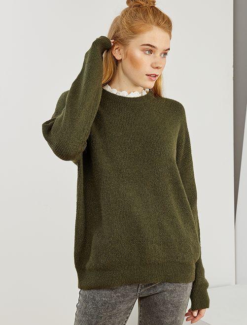 Pullover maglia morbida collo vittoriano                     KAKI