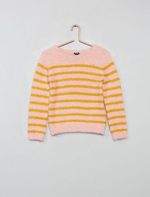 Pullover maglia pelosa a righe                     ROSA