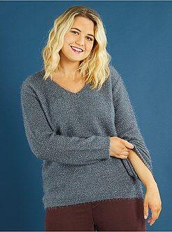 Taglie forti donna Pullover maglia pelosa luccicante
