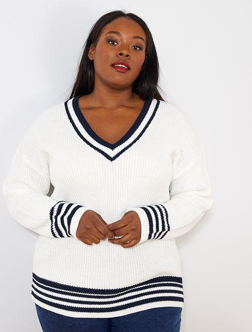 Pullover maglia perlata                             bianco neve