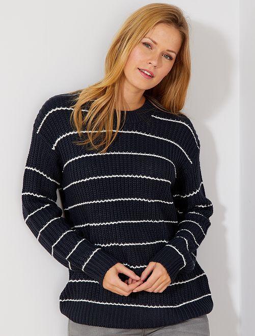 Pullover maglia perlata                                                     BLU Donna