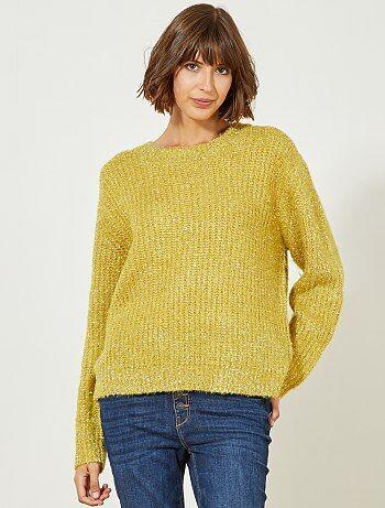 Pullover maglia perlata e fili di metallo - Kiabi