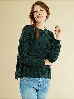Maglioni collo arrotondato - Pullover maglia perlata pesante
