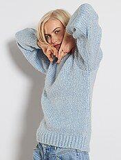 Maglione dolcevita con torciglioni in cotone Blu