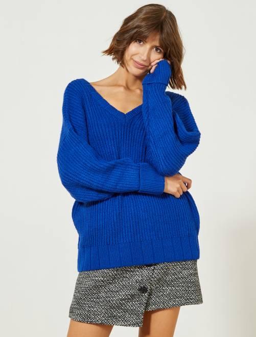 Pullover maglia scollatura a V davanti e dietro                     BLU Donna