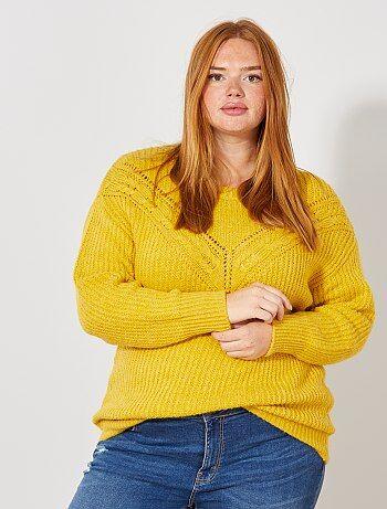 Taglie forti donna - Pullover maglia traforata con trecce - Kiabi
