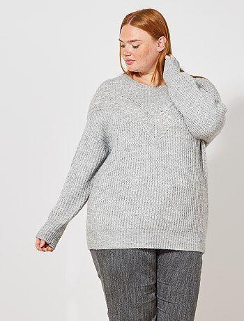 Pullover maglia traforata con trecce - Kiabi