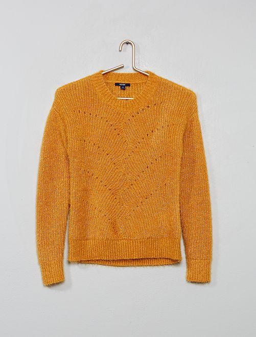 Pullover maglia vaporosa brillante                             GIALLO