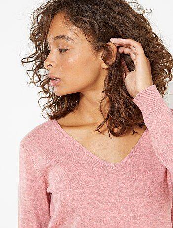 Donna dalla 38 alla 52 - Pullover maglina collo a V - Kiabi
