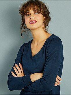 Donna dalla 38 alla 52 Pullover maglina collo a V
