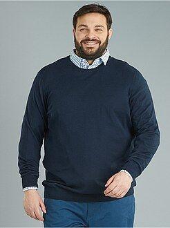 Taglie forti Uomo - Pullover maglina puro cotone - Kiabi