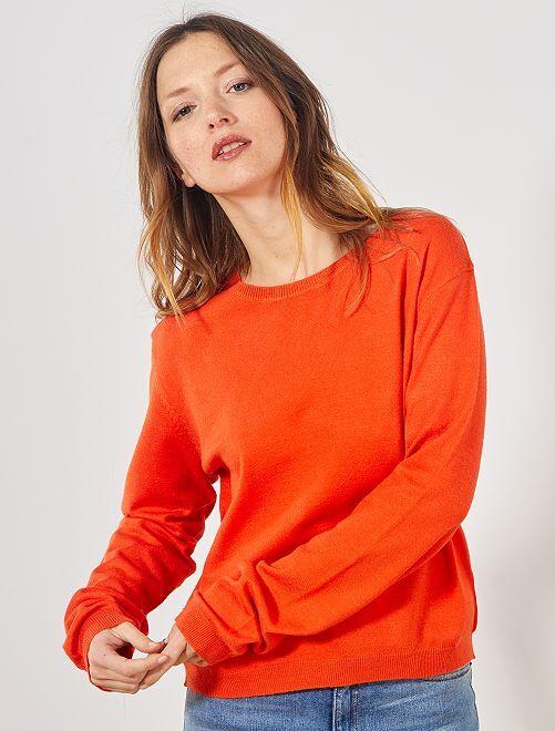Pullover maglina tinta unita                                                     arancio