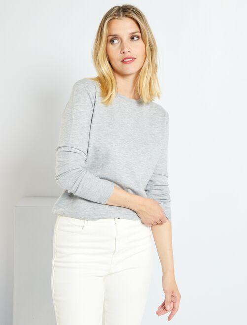 Pullover maglina tinta unita                                                                                                                             GRIGIO