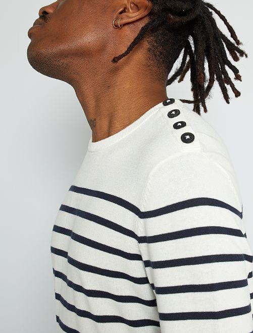 Pullover marinière +190 cm                                         a righe ecru
