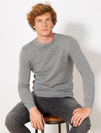 Pullover nervature cotone bio - Kiabi